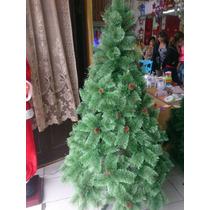 Arbol De Navidad Pino 1.80 M Blanco Verde Adornos Luces Led