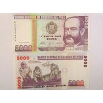 Billete Del Peru 5000 Intis Miguel Grau Billete De Coleccion