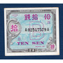 Remate!!! Japon 1945, Billete Militar De 10 Sen, Casi Nuevo