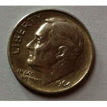 1 Un Dino Dolar De Plata De 9 Decimos - One Dime 1964