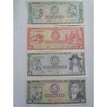 Lote 4 De Billetes Antiguos Del Peru