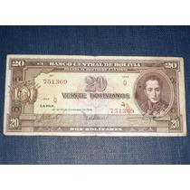 Billete 20 Veinte Bolivianos Dos Bolívares Ley 1945 Bolivia