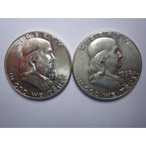 2 Moneda Nueva 1/2 Medio Dolar Americana Plata De 9 Decimos