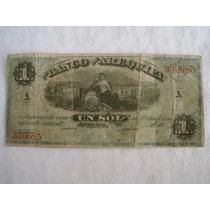 Antiguo Billete Banco De Arequipa De 1 Sol, Perú - 18xx.