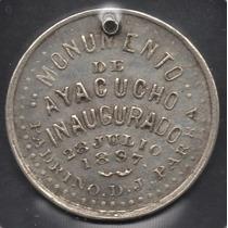 Peru Medalla Monumento De Ayacucho Inaguracion