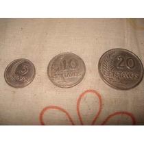 3 Monedas Antiguas De Peru De 5 - 10 Y 20 Centimos