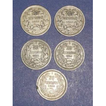 5 Monedas Chile 20 Centavos Antigua 1923 1924 1932 1938 1940