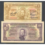 Uruguay 1939, Lote De 2 Billetes De 1 Y 10 Pesos