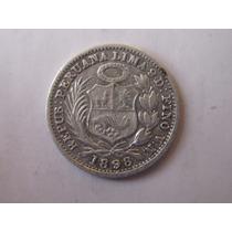 Moneda Plata Peru Año 1898 1/2 Medio Din Dino Dinero Vn Raro