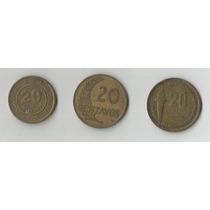 Yh 3 Monedas Antiguas De Veinte Centavos Años 1954 Al 1986