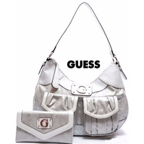 Cartera Mediana Guess Platead Blanco 100% Original Usa Stock