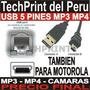 Cable Usb 5 Pines Mp3 Mp4 Camara Razr V3 Pebl V220 V180 C65