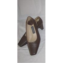 Elegantes Zapatos Marrones 100% Cuero Taco 5 Talla 35
