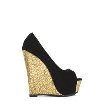 Zapatos Sandalia Altos Cuna Plataforma Negro Usa 10 40 Stock