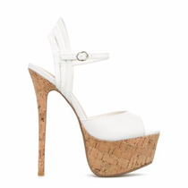 Zapatos Sandalias Taco Corcho Plataforma Blanco 9 39 Stock