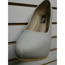 Zapato Calzado Para Mujer Taco 12 Y 9 Color Hueso Crema. Neg