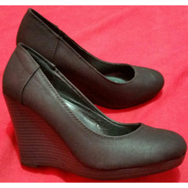 Zapatos Aziz De Ripley Taco Cuña Talla 36 Negro Como Nuevos