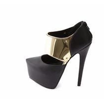 Zapatos Taco Plataforma Negro Dorado 8 38 Importado Stock