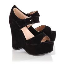 Pareja Mujer Madre Sexy, Zapatos Sandalias Gamuza 35 Negro