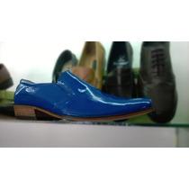 Zapatos Charol Vestir Hombre Azules Calzado Cuero Botas