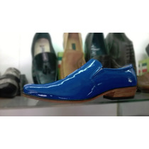 Zapatos Azules Charol Vestir Hombre Calzado Cuero Botas