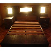 Juego Dormitorio 2 Plazas Cedro Real Cama Mesas Noche Caoba!