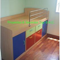 Cama Para Niños En Melamina. Ideal Habitaciones Pequeñas.