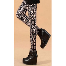 Oix Closet Leggins Leggings Impresión Rock Estampado