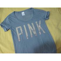 Polos Marca Pink Victoria Secret Talla Small Gris Mujeres