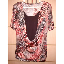 Blusa Doble Animal Print Tonos Marrones Talla L Nueva