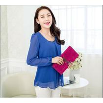 Blusa Importada Azulino Gasa Coreana En Stock