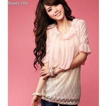 Blusas Beauty City Importadas Coreanas Gasa Encaje Moda