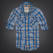 Camisa Hollister De Sarga Pelican Point - Escocés Talla L