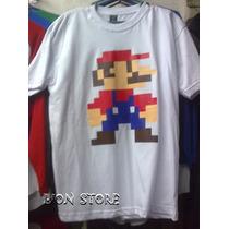 Polos Mario Bros Pixeleado Damas Caballeros Y Niños