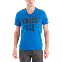Polo Polera Guess Hombre Manga Corta Cuello V Azul M Stock