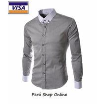 Camisas Entalladas Slim Fit, Dos Colores, Moda Coreana