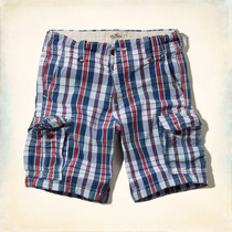 Shorts Cargo Hollister By Abercrombie Red Plaid