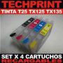 Set 4 Cartuchos Recargables Autoreset T25 Tx125 Tx135 Tx133