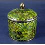 Antiguo Cofre Redondo De Cloisone Verde Floreado Años 70s