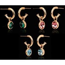 Aretes Con Cristales Genuinos Colores Importado En Stock