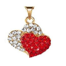 Amor Madre .mujer Bella Cadena Y Dije Corazon Cristales Oro