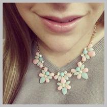 Collar Flores Pastel Importado Colores En Stock Elle851