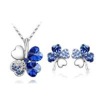 Trebol Set - Collar Y Aretes - Cristales Swarovski Style