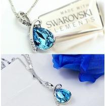 Collar Cadena Y Pendiente Bañado En Oro De 18 Kl Y Swarovski