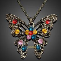 Collar Vintaje Con Dije De Mariposa Aperlao De Colores