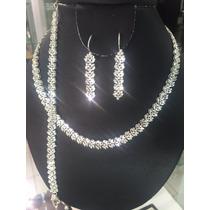 Cadena, Aretes Y Pulcera De Plata Diamantada