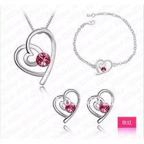 Collar Corazon Con Perla De Cristal Elegante Moda 2016