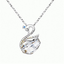 Set Collar Y Aretes De Plata 925 Con Cristales De Swarovski