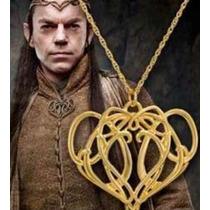 Collar Dije Elrond Señor De Los Anillos Baño Oro No Anime