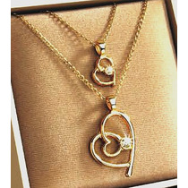 2 Collares Dije Corazon Oro Con Fino Cristal Mama E Hija